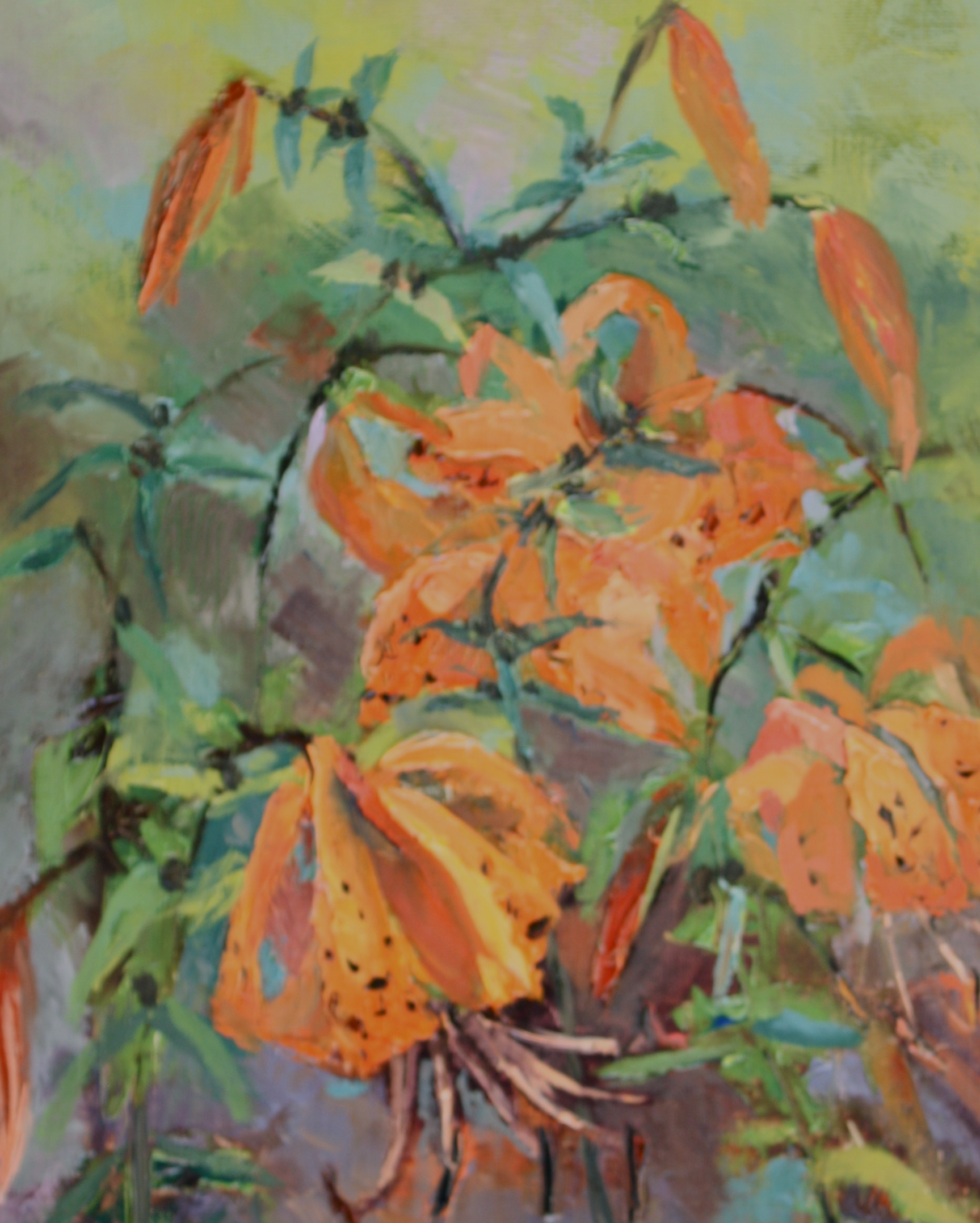 """""""Tiger Lilies in the Wind"""" original fine art by Pamela Sweet"""
