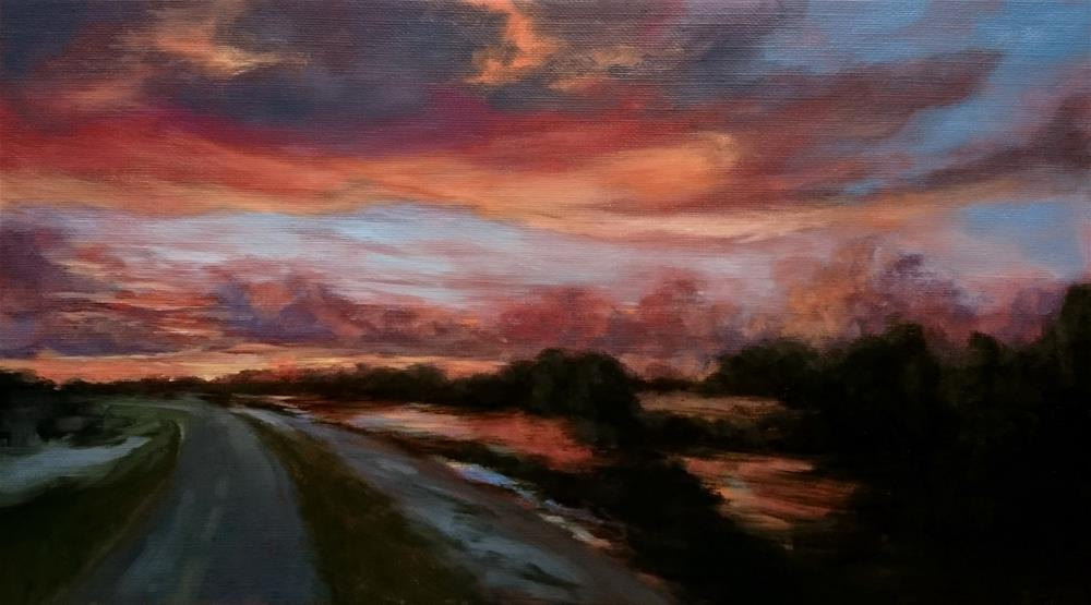"""New Orleans Levee Sunset"" original fine art by Dalan Wells"