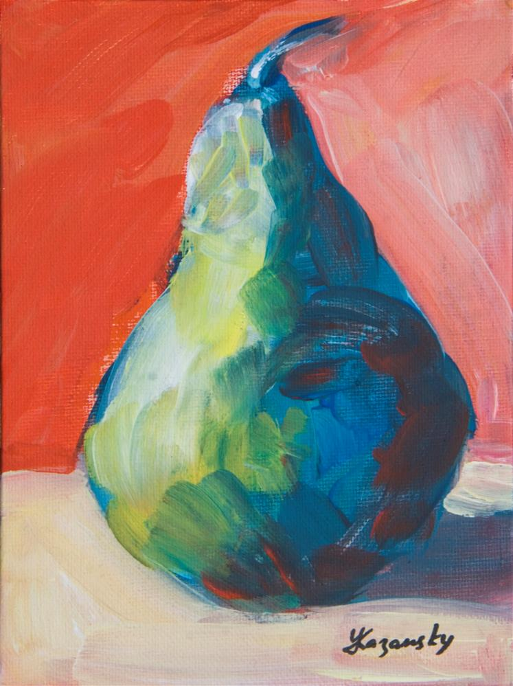 """Green Pear on Red study"" original fine art by Yulia Kazansky"