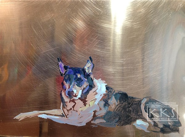 """""""Bodhi, in process, a painting on copper"""" original fine art by Kimberly Santini"""