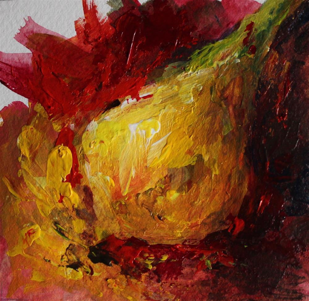 """Onion still life acrylic red"" original fine art by Alice Harpel"