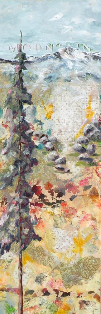 """MOUNTAIN ORIGINAL MIXED MEDIA ON CRADLE © SAUNDRA LANE GALLOWAY"" original fine art by Saundra Lane Galloway"