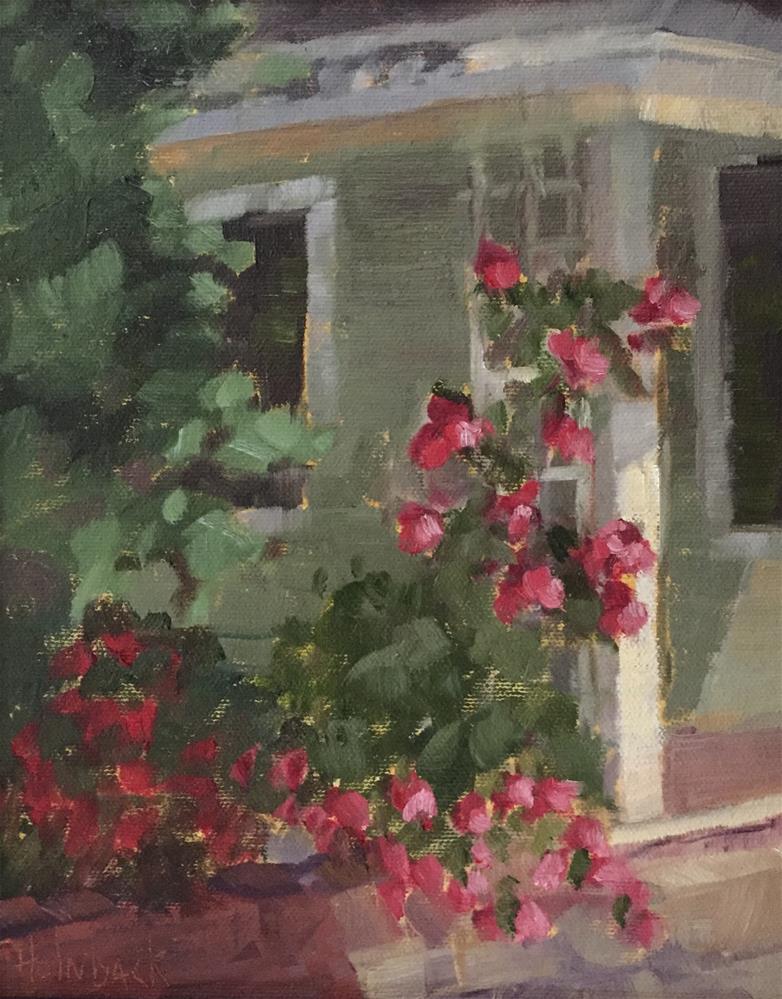 """Front Porch Trellis"" original fine art by Pam Holnback"