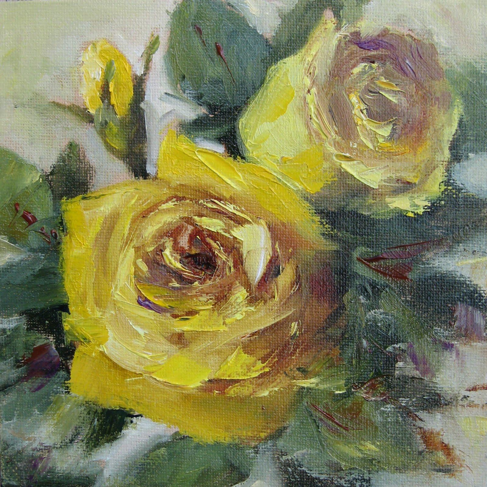 """Flower Study # 31 Yellow Roses"" original fine art by Pat Fiorello"