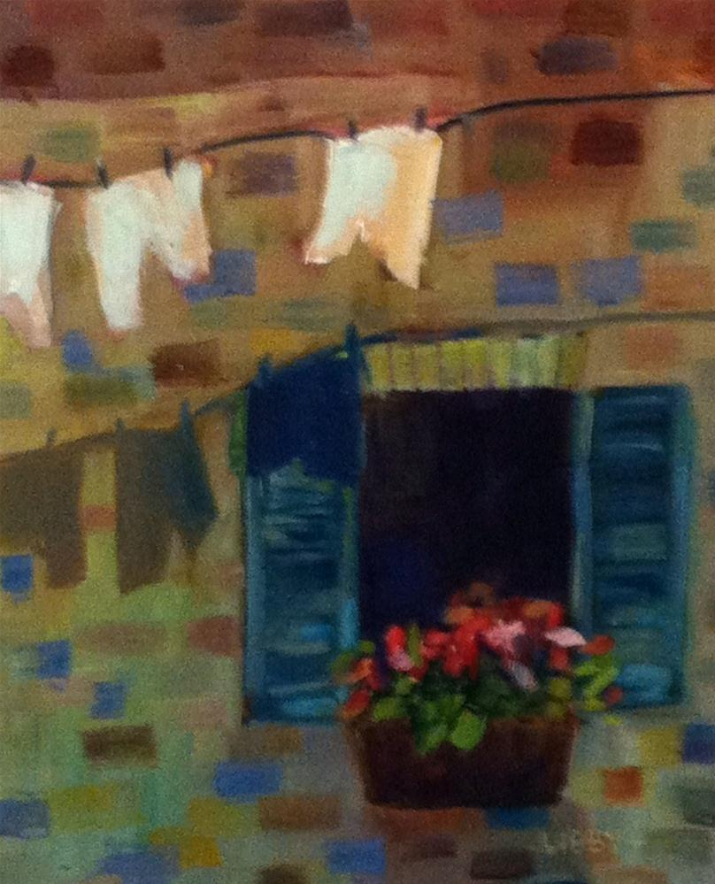 """""""Airing Laundry"""" original fine art by Libby Anderson"""