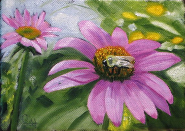 """Sleepy Bee"" original fine art by Claire Henning"