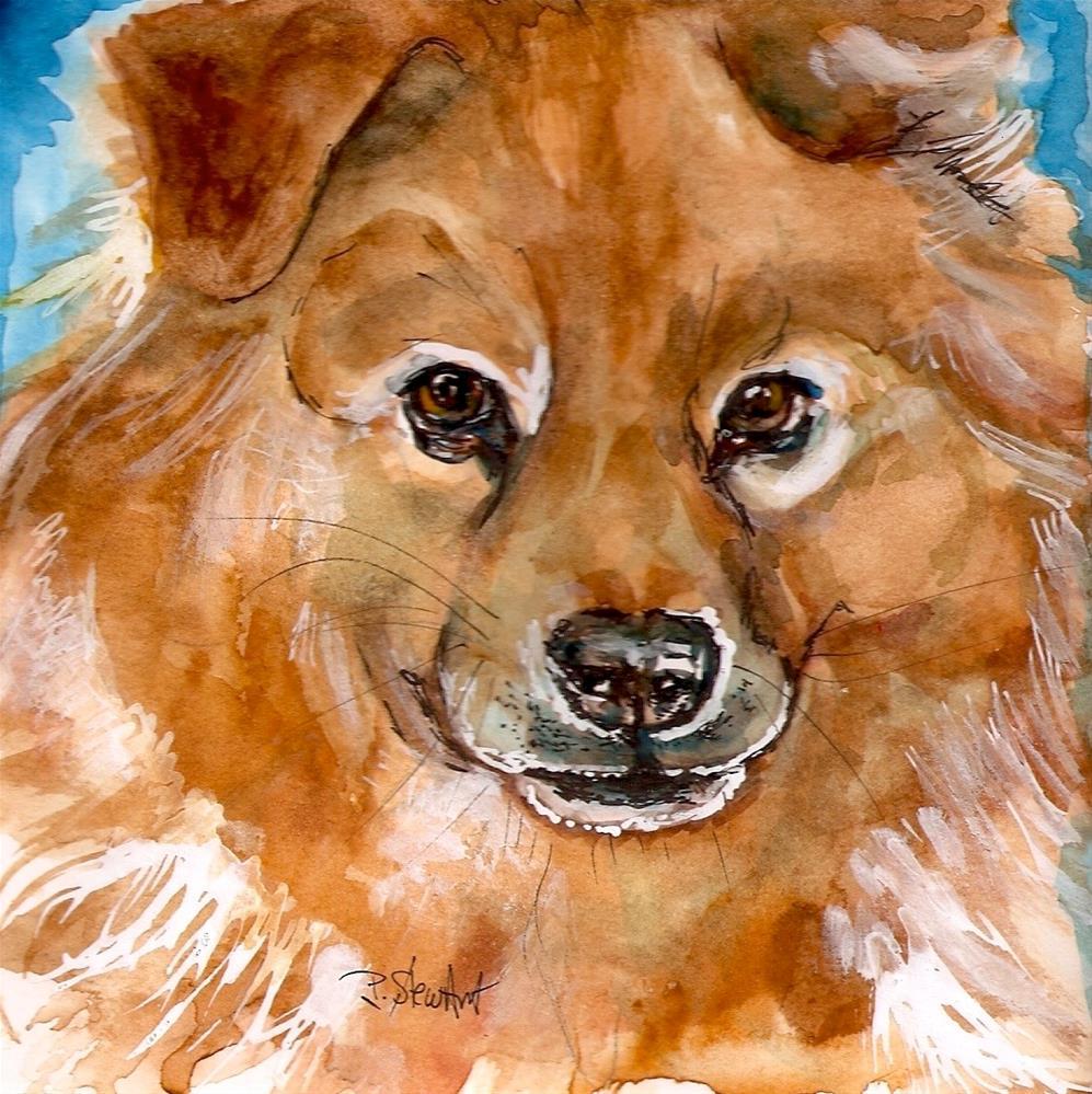 """""""6x6 Heidi's Dog Watercolor, Pen and Ink Pet Portrait by Penny Lee StewArt"""" original fine art by Penny Lee StewArt"""