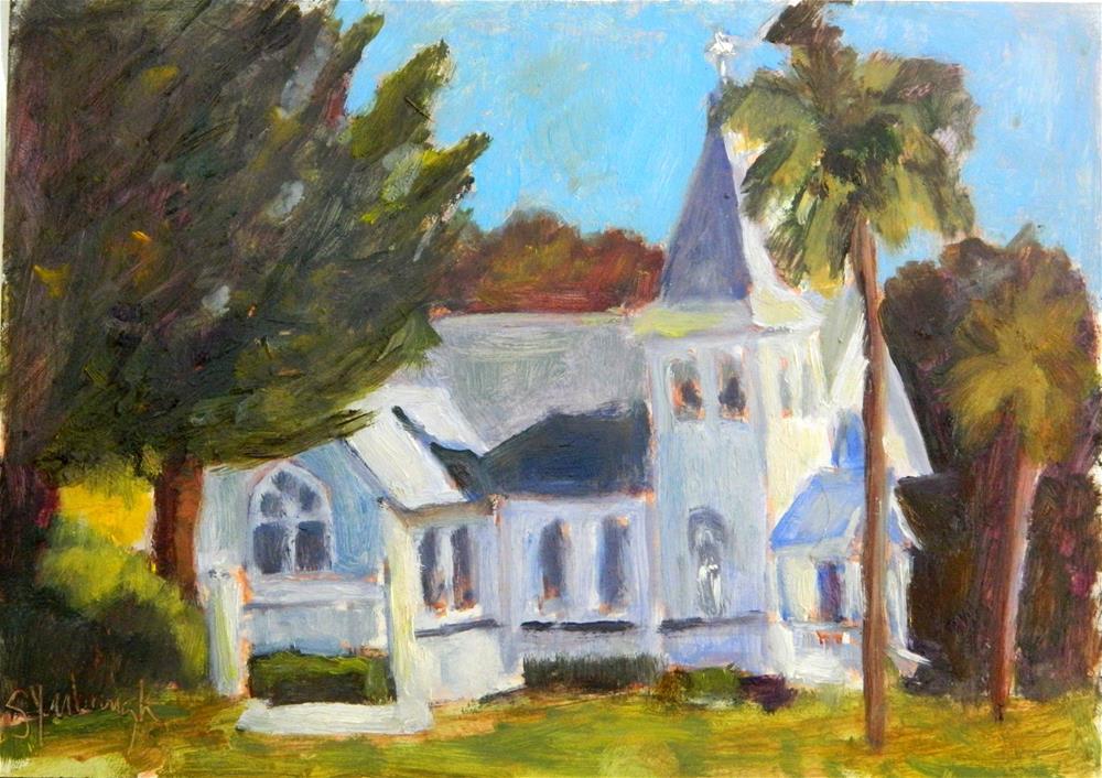 """Church by the Beach"" original fine art by Sharon Yarbrough"