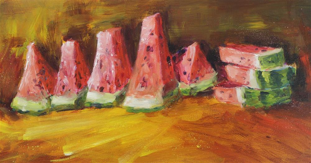 """Original oil watermelon fruit impressionism painting"" original fine art by Alice Harpel"