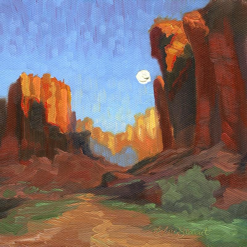 """""""Sun Rise, Moon Set"""" original fine art by B. Rex Stewart"""