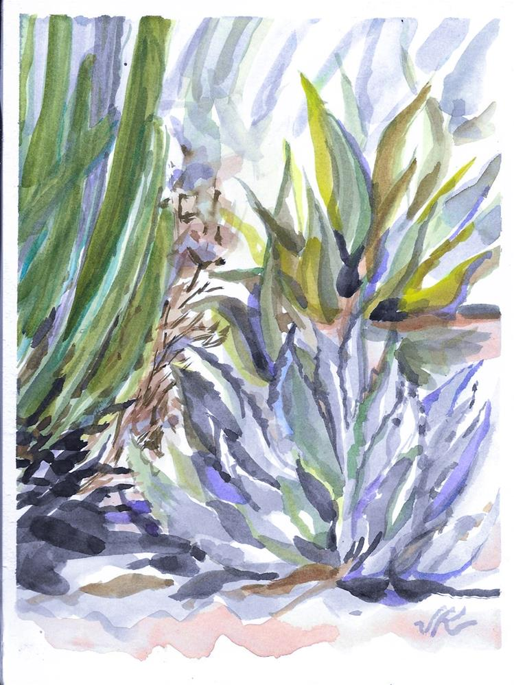"""Agave and Cactus"" original fine art by Jean Krueger"