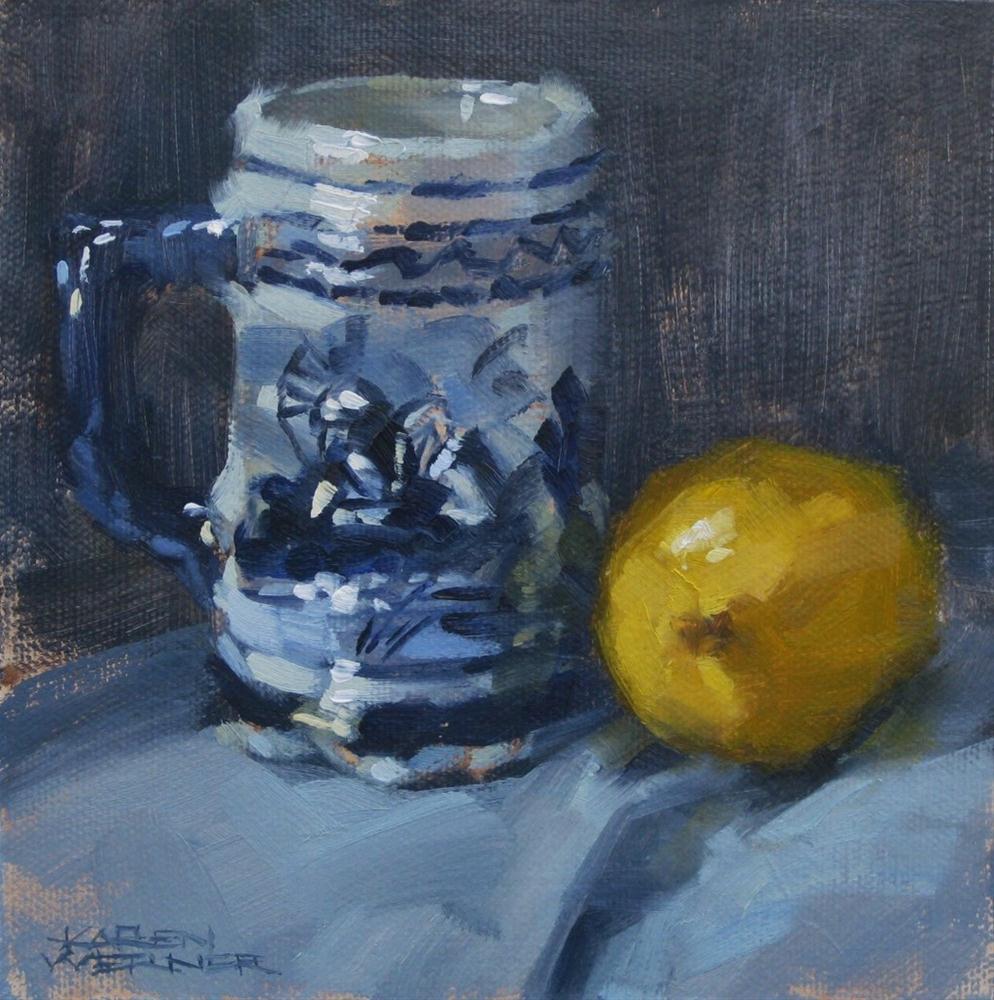 """""""Lemon And Blue"""" original fine art by Karen Werner"""
