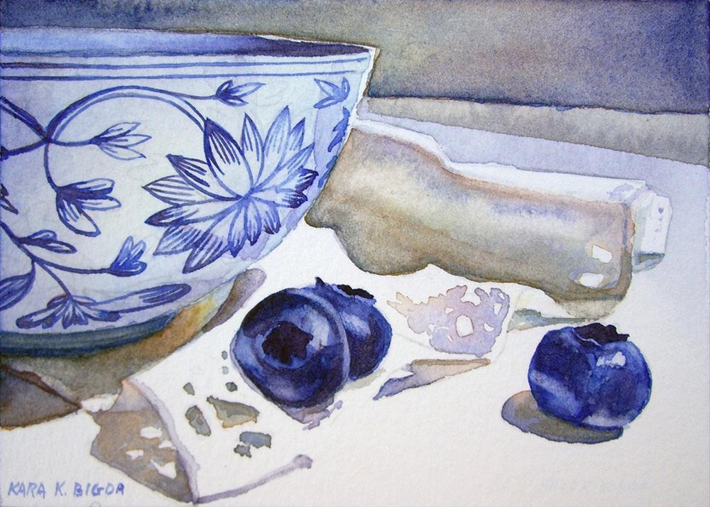 """Mini Blueberries"" original fine art by Kara K. Bigda"