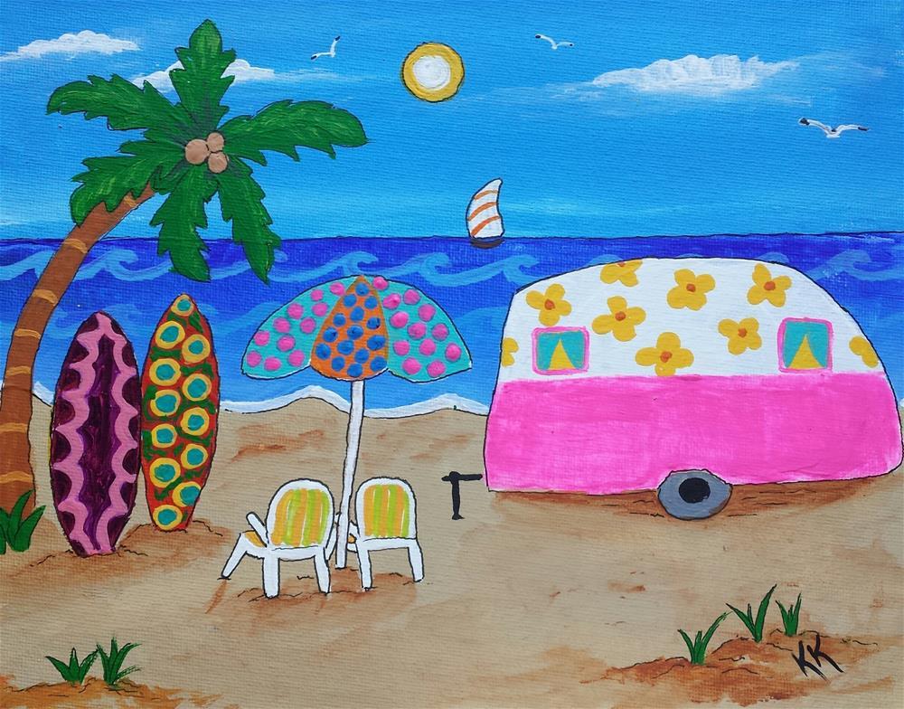 """""""Spending Time on the Beach"""" original fine art by Karleen Kareem"""
