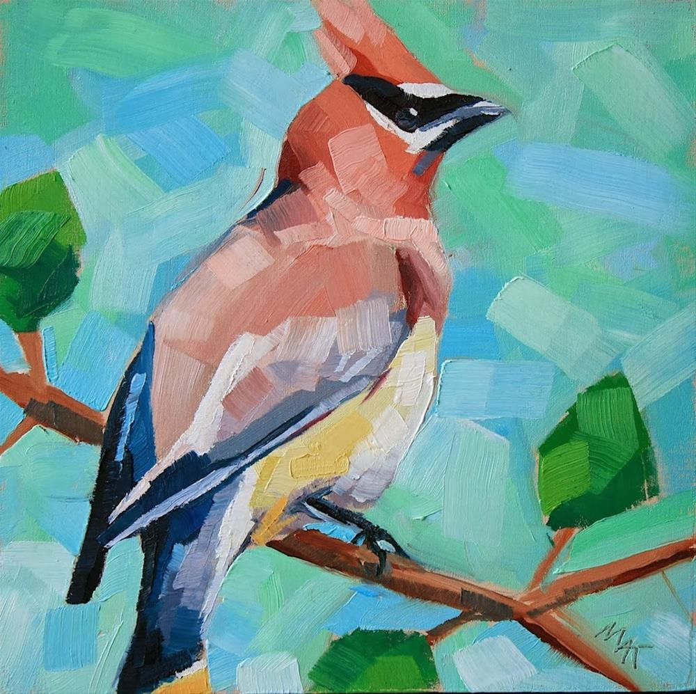 """""""Waxwing 2"""" original fine art by Mary Anne Cary"""