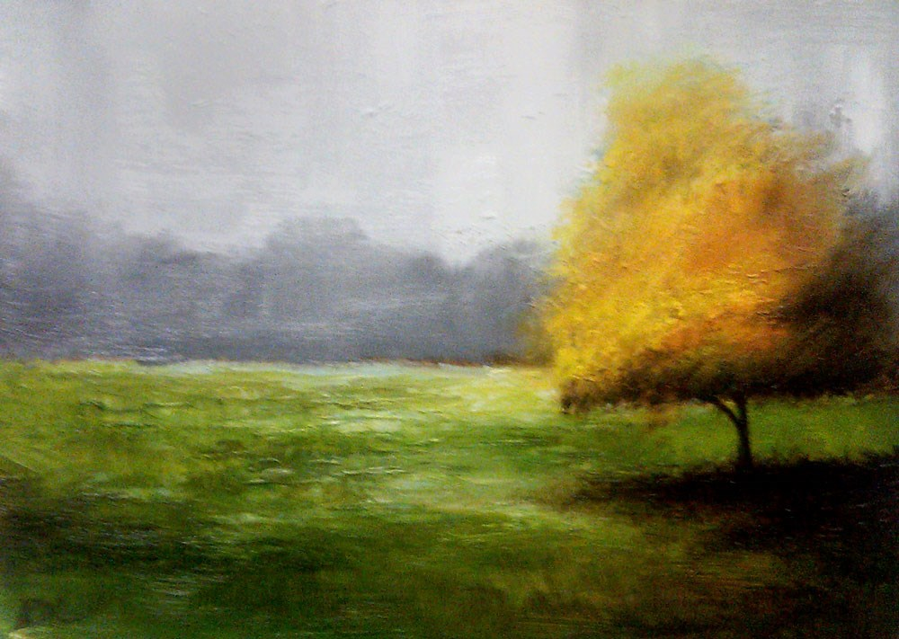 """Yellow Tree in the Park"" original fine art by Bob Kimball"