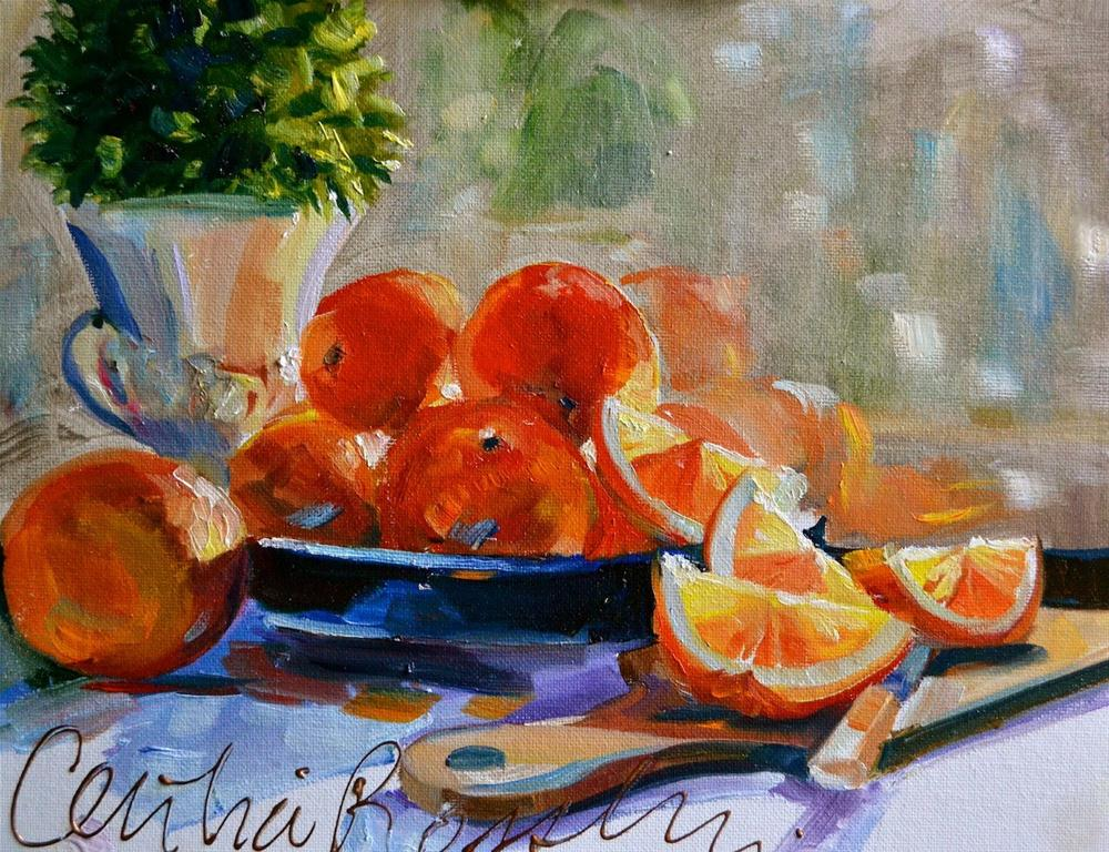 """TANGERINES"" original fine art by Cecilia Rosslee"