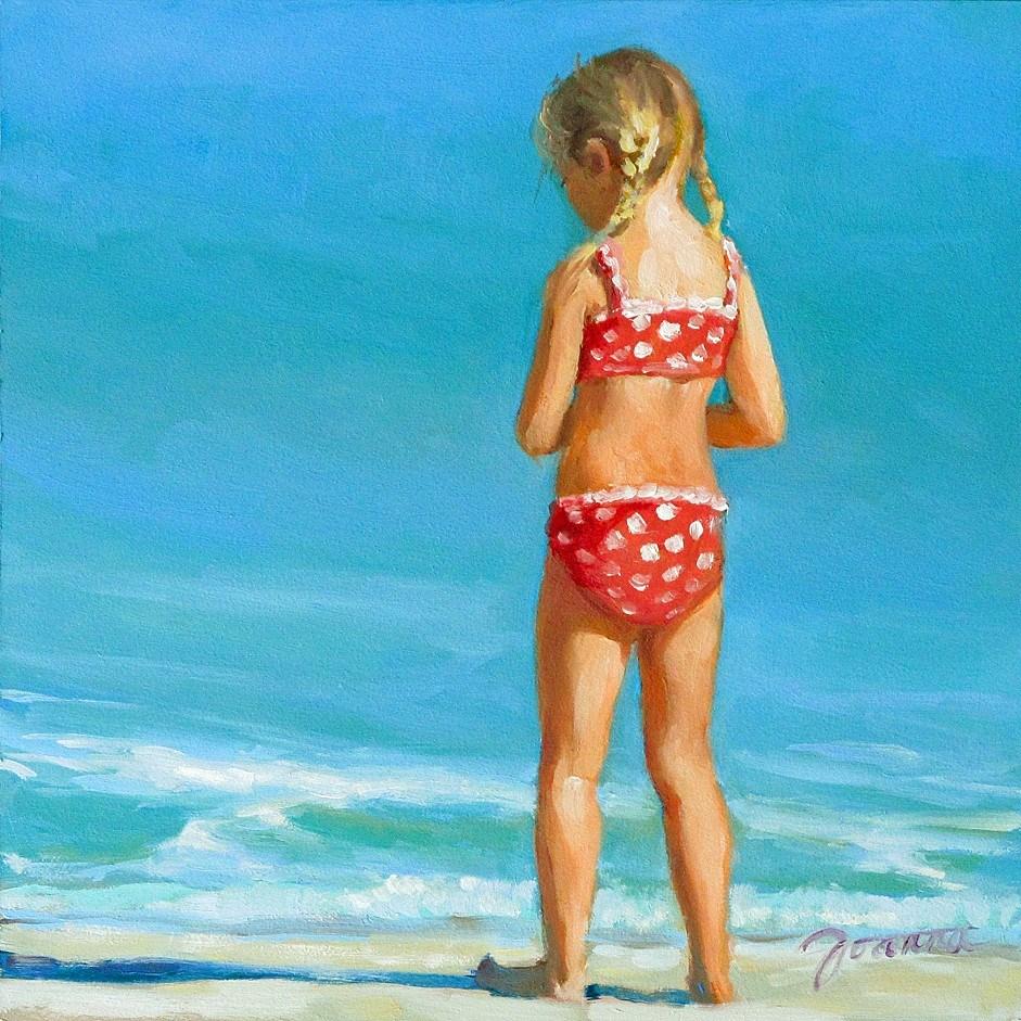 """Happy Toe---Series Painting of Children On the Beach"" original fine art by Joanna Bingham"