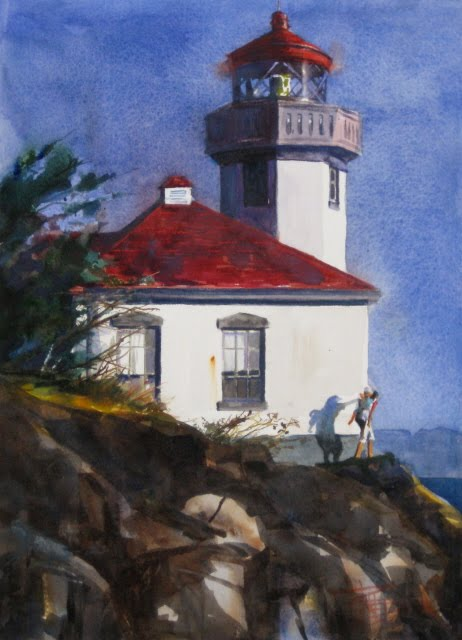 """""""Lime Kiln Lighthouse at Close of Day watercolor landscape painting"""" original fine art by Robin Weiss"""