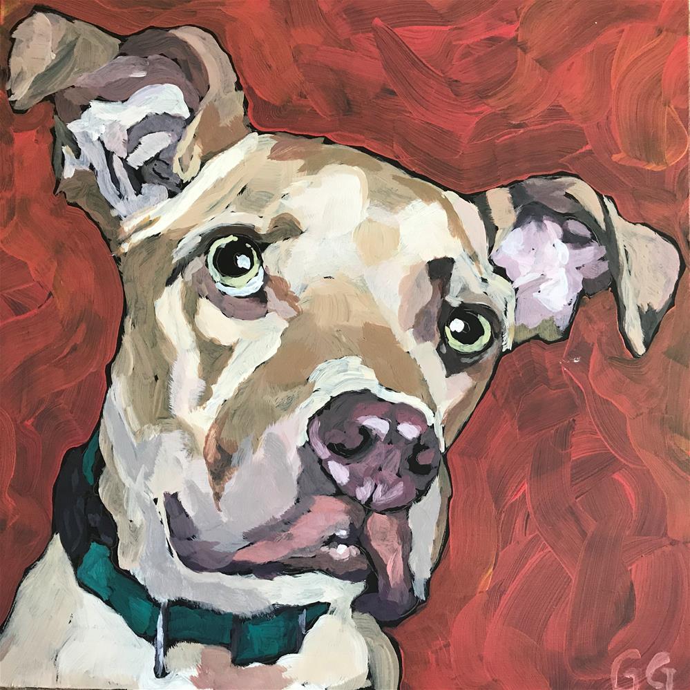 """Dog on Red"" original fine art by Gina Garding"