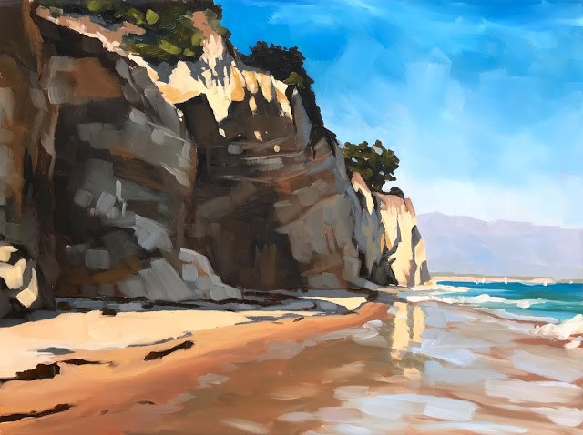"""Leadbetter Cliffs, 18x24"" original fine art by Sharon Schock"