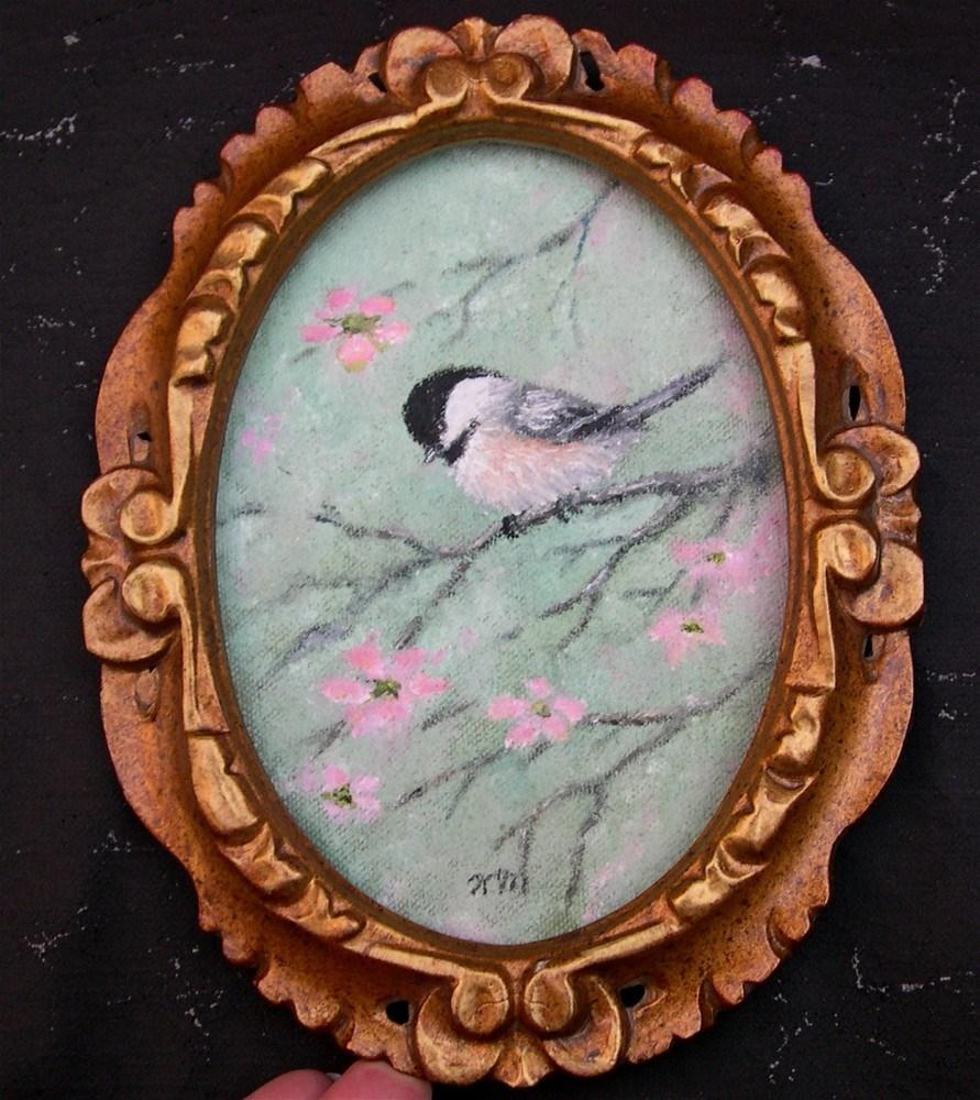 """""""Pink Blossom Chickadee (Framed)"""" original fine art by Kathleen McDermott"""