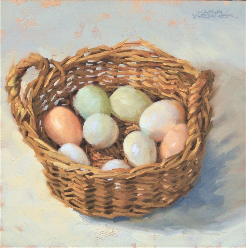 """All Her Eggs In One Basket"" original fine art by Karen Werner"