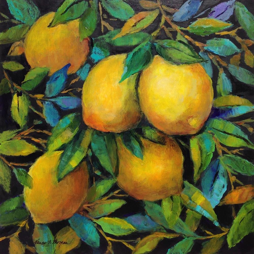 """Leafy Lemons"" original fine art by Nancy F. Morgan"