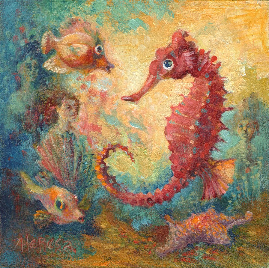 """""""Seahorse and Company"""" original fine art by Theresa Taylor Bayer"""