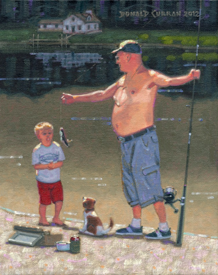 """Fishing With Dad"" original fine art by Donald Curran"