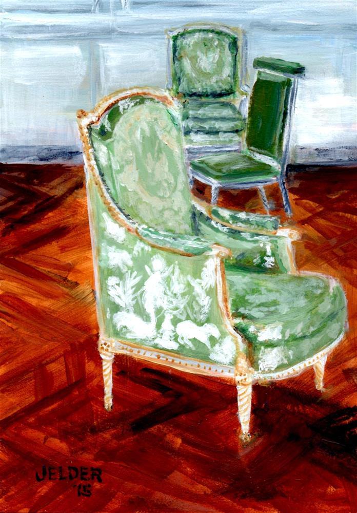 """""""Three Chairs, Versailles"""" original fine art by Judith Elder"""