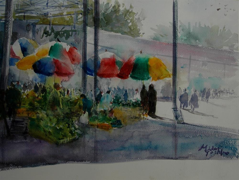 """Al Ain vegetable souq at 8am"" original fine art by Midori Yoshino"
