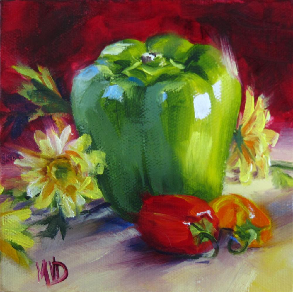"""Green Bell & Friends"" original fine art by Mary Van Deman"