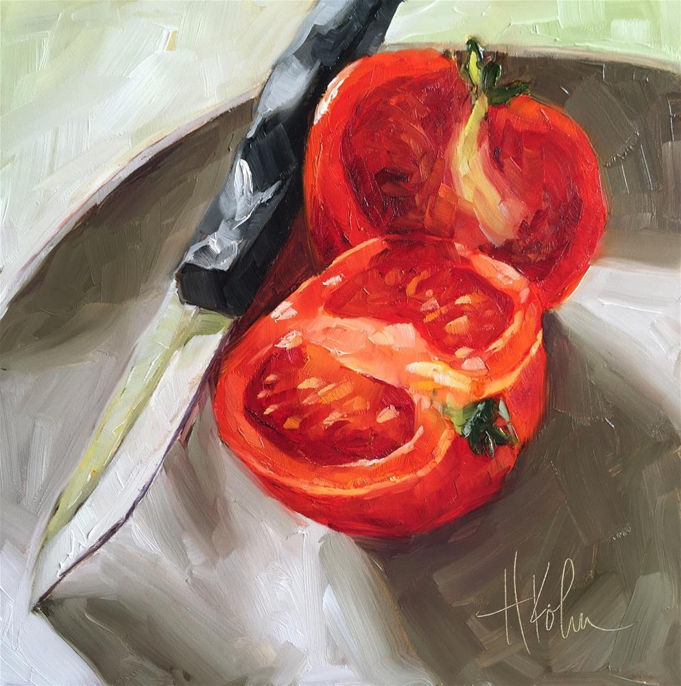 """Tomato with Knife"" original fine art by Hallie Kohn"