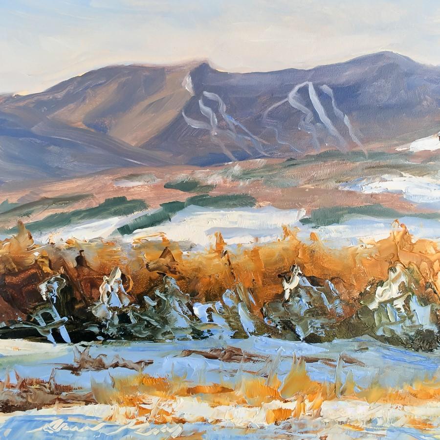 """#172 - First Snow - Mt Mansfield- Stowe, VT"" original fine art by Sara Gray"