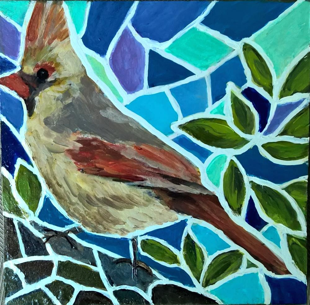 """Female Cardinal mosaic painting"" original fine art by Joan Matero"