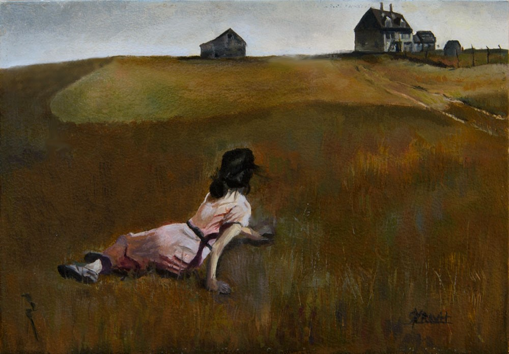 """Christina's World, after Wyeth."" original fine art by Garry Kravit"