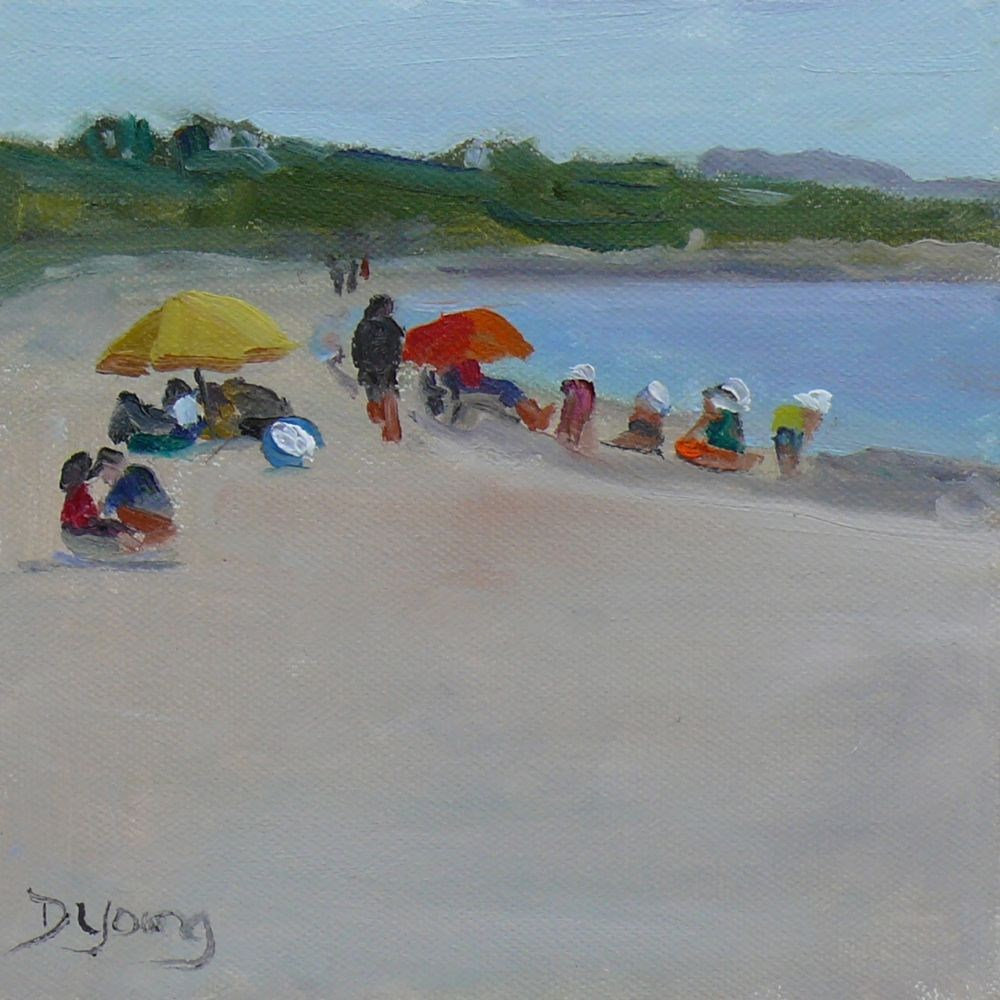 """""""Beach Day, oil on canvas panel, 6x6"""" original fine art by Darlene Young"""