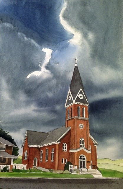 """""""Church in Colton"""" original fine art by Andy Sewell"""