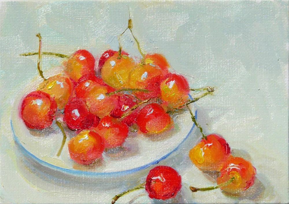 """Washington Cherries,still life,oil on canvas,5x7,price$200"" original fine art by Joy Olney"