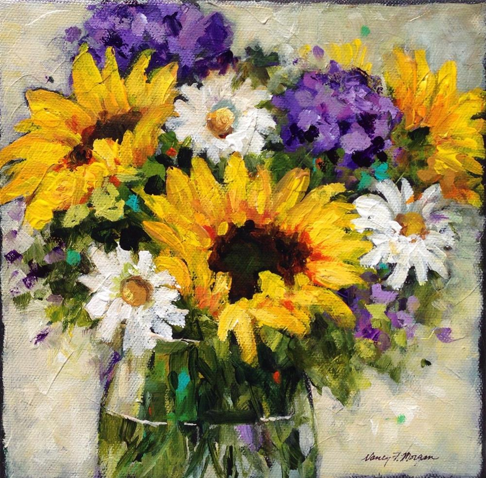 """Sunflowers and Hydrangeas"" original fine art by Nancy F. Morgan"