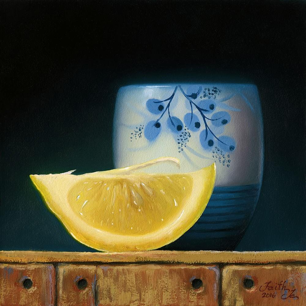 """""""Lemon Slice with Japanese Teacup"""" original fine art by Faith Te"""