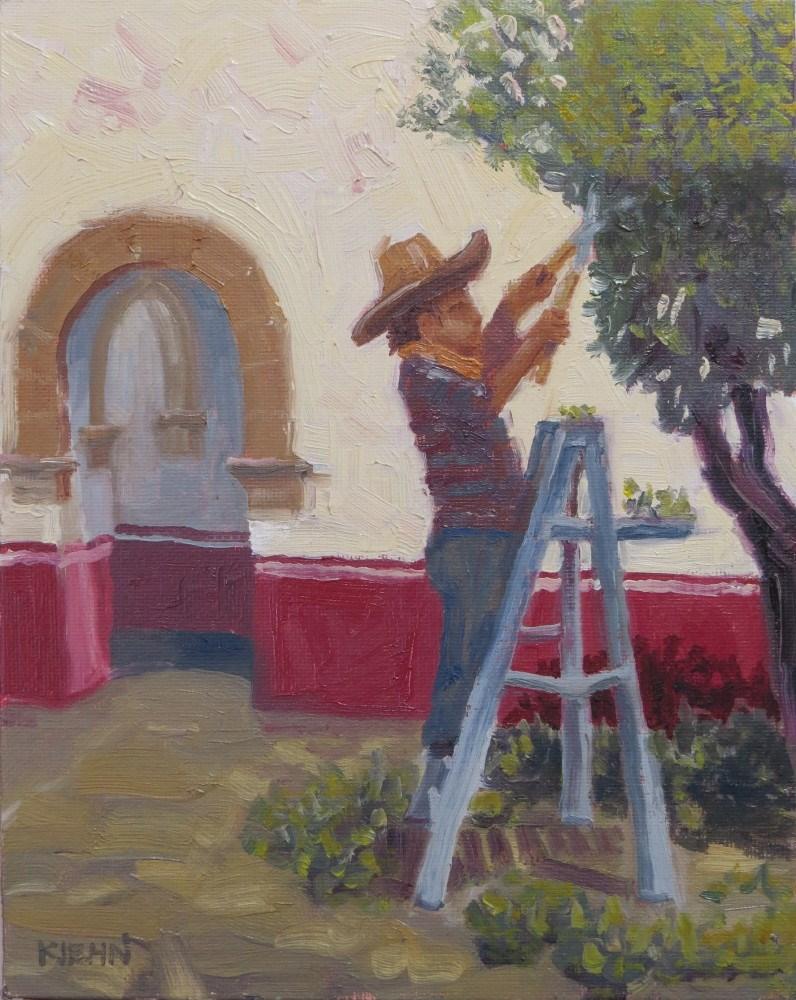 """Trimming the Tree"" original fine art by Richard Kiehn"