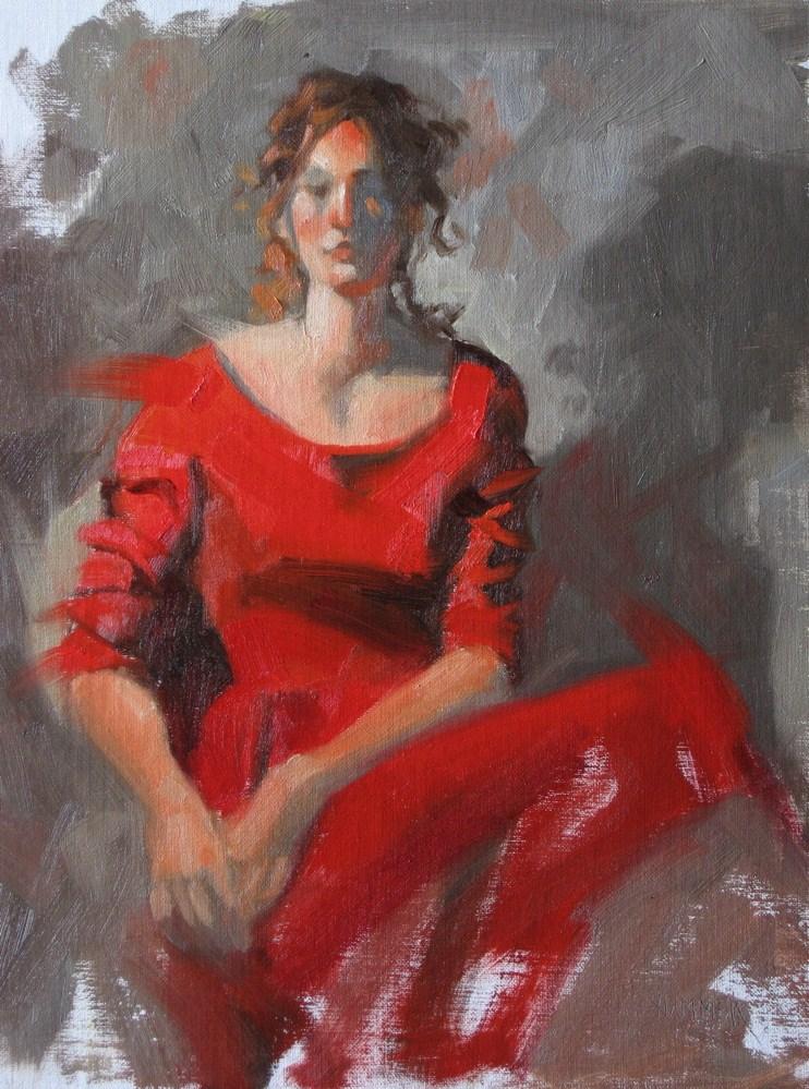 """""""Hannah in red velvet  9x12  oil"""" original fine art by Claudia Hammer"""