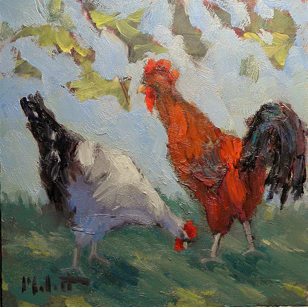 """Chicken Rooster Painting"" original fine art by Heidi Malott"