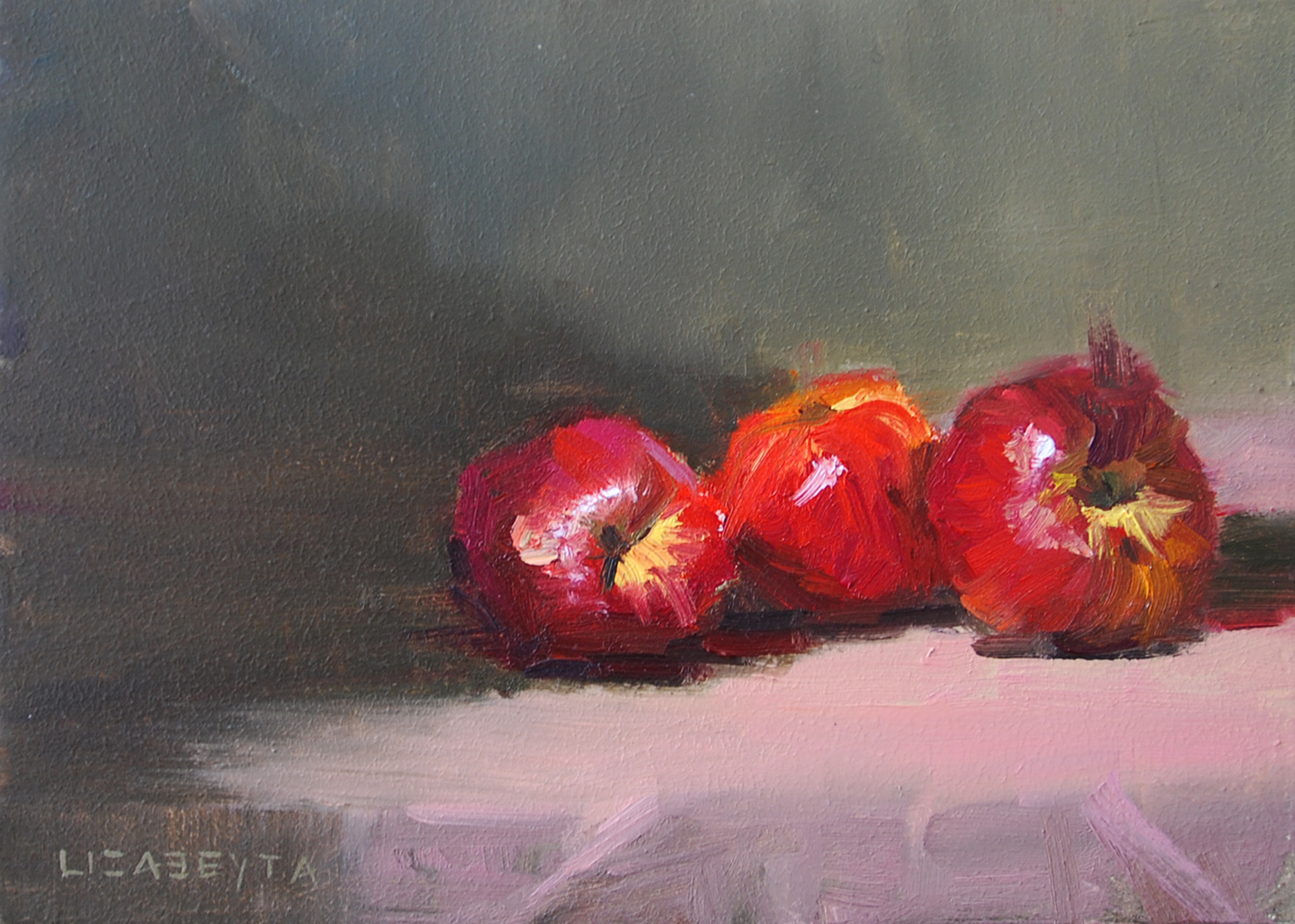 """Three Nectarines"" original fine art by Liz Abeyta"