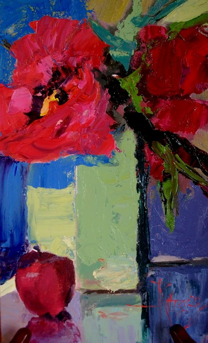 """Red Peonies 2  palette knife , oil still life painting"" original fine art by Robin Weiss"