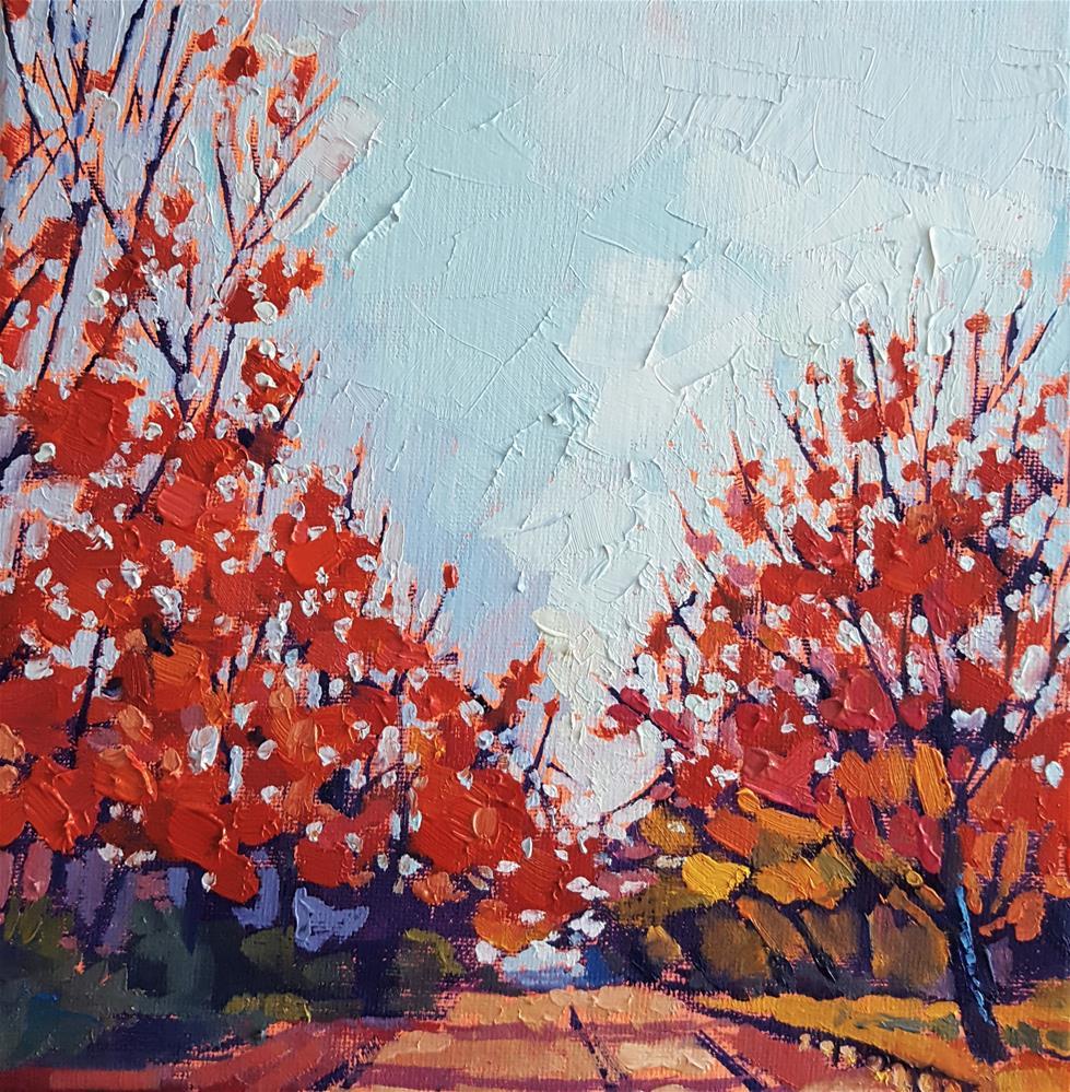 """Red Autumn Flames"" original fine art by Bhavna Misra"