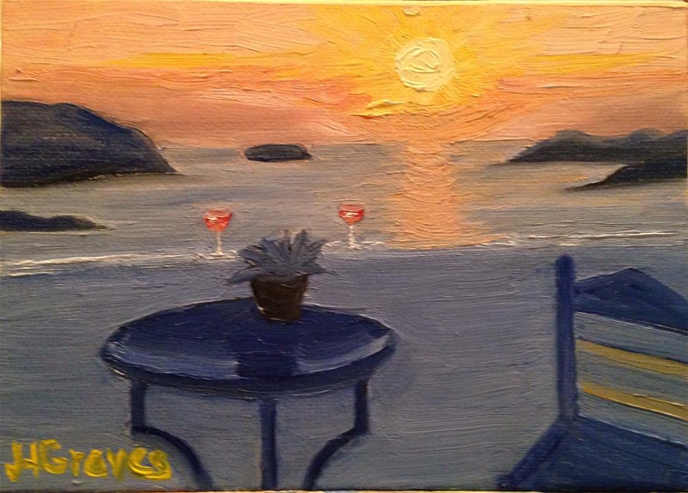 """Balcony Sunset Over Santorini"" original fine art by J H Graves"