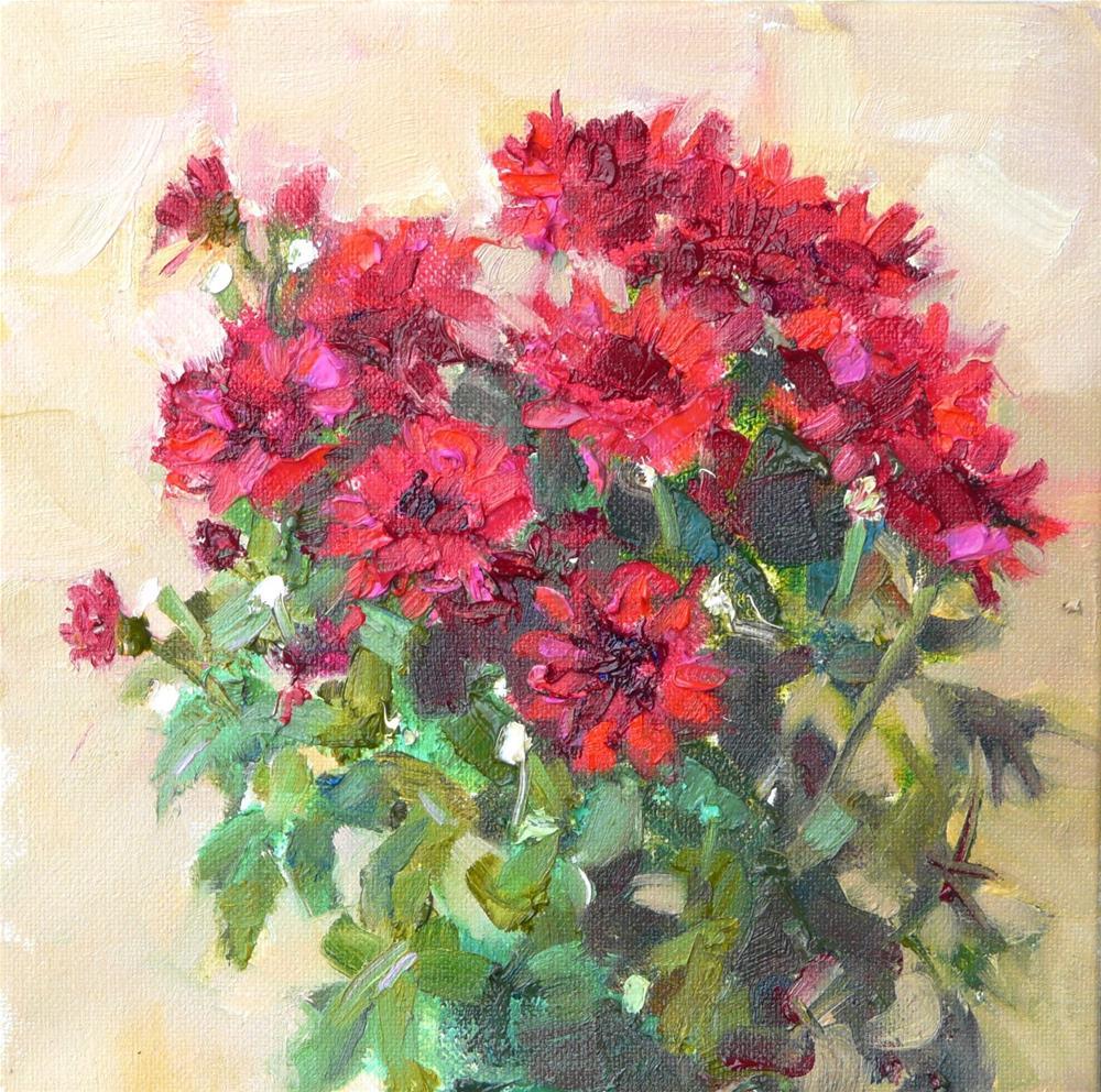 """Mums on the Door Step,still life,oil on canvas,8x8,price$200"" original fine art by Joy Olney"